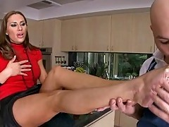 Ribald doxy Sky Taylor can't live without to get her sexy feet adored by her Boyfriend