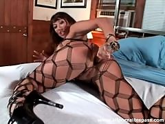 Very busty Asian milf uses her glass toy on her ass