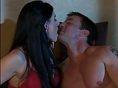 Dark haired milf in red sexy lingerie does 69 in bed