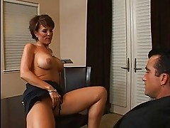 Amazing busty brunette milf getting her pussy licked