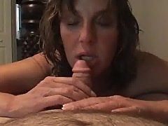 Rosie sucking cock and swallowing cum... wanting lesbian sex