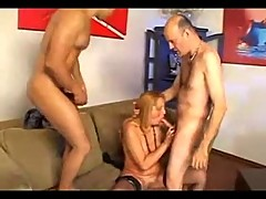 Mature slut with her horny bisex lovers