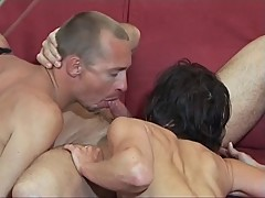 Petite brunette and toned dude suck mustachioed dude's dick together, then fucks