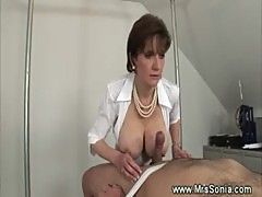 Domina going russian as she titfucks her servant