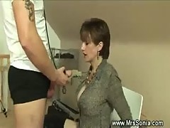 Dominatrix sucks her slaves cock off