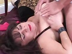 Chubby Mature Brunette Lady With Huge Knockers Eats His Cock And Gets Nailed