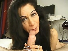 Jet black haired mama loves giving blowjobs
