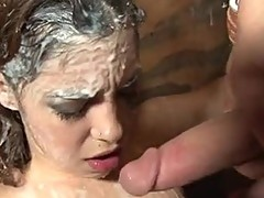 Cum loving bitch Gigi Rivera getsan astonishing blast of pecker batter on her face