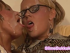 Horny European MILFs soaked in sperm