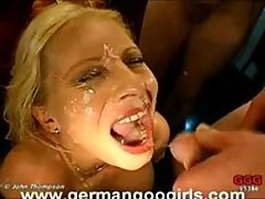 Busty MILF gets non-stop facial cumshots