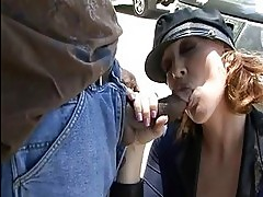 Mature police women sucking black cock on public