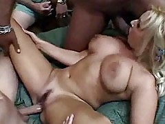 Busty Blonde MILF Wife Gets An Interracial Gang Bang