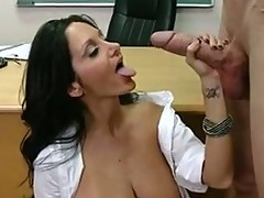 Lusty brunette Ava AdDams gets this guyr Mouth ripped hard by a juicy thellock Jock