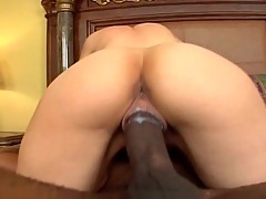 Babe gets her pussy stretched by a big black shaft