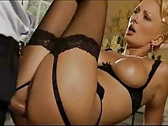 Blonde MILF in Stockings Loves Some Doggy Style XXX