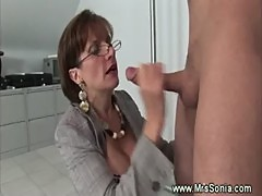 Business woman sucks a dick