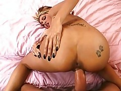 Busty blonde momma with tattooed ass gets slammed doggy styl...