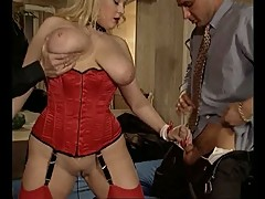 British MILF Kirstyn Halborg DP in red stockings