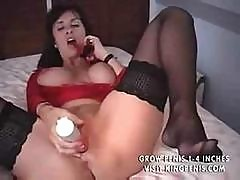 Busty British Woman In Red Makes Wonderful Vaginal Massage