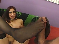 Big tits mature with stockings foot fucking