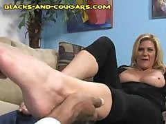 Black Dude Is Happy To Worship The Sexy Feet Of This Mature Blonde