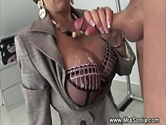British MILF gets cum on her tits
