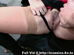 Brunette flashes pussy outdoors