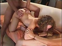 Curly-haired Slutty French Housewife Gets Some Double Penetration Fun