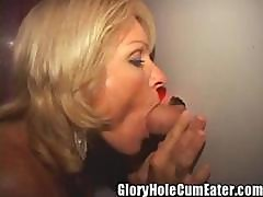 Blonde Milf Gets Gloryhole Creampies In Her Pussy And Asshole!