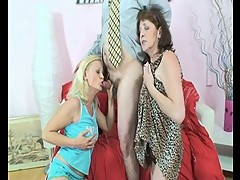 Horny young blonde bitch joins granny and grandpa's hot session
