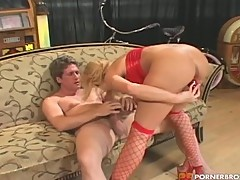 Big red dildo fun with young babe