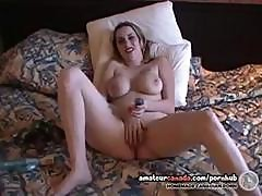 Blonde Geek Tattoo Milf With Huge Tits Masturbating In Hotel Bed