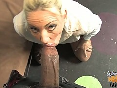 Cala Craves gets her mouth on her first black cock